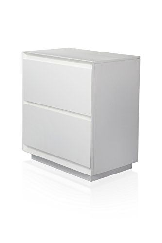 Homes Inside Out Iohomes Zeden Modern White 2 Drawer Nightstand