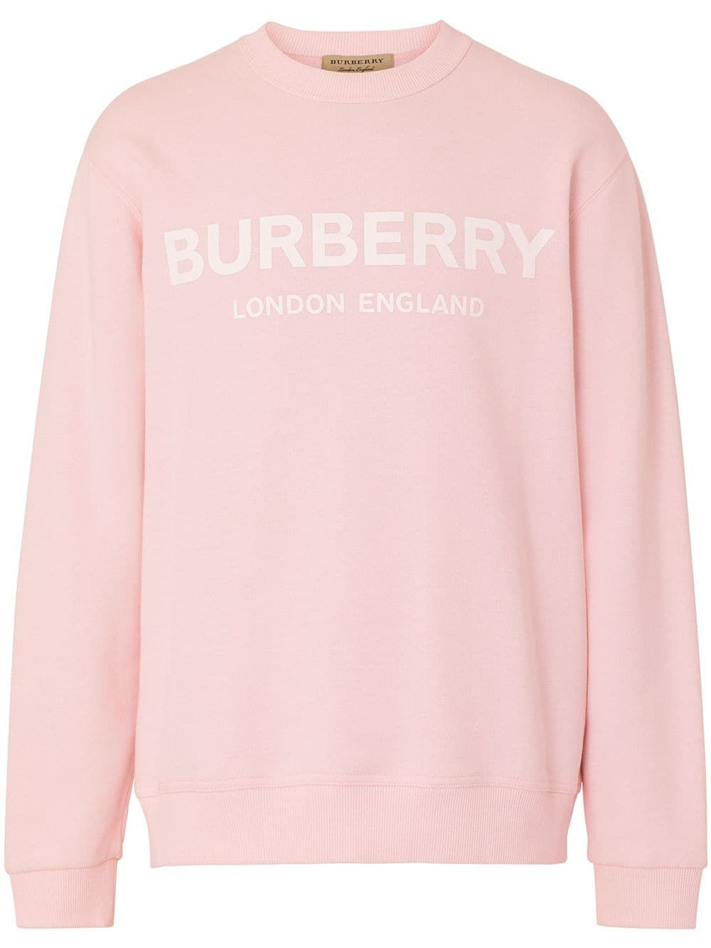 Burberry Logo Print Cotton Sweatshirt In Pink Modesens Gaya Model Pakaian Gaya Pakaian Wanita [ 1334 x 1000 Pixel ]
