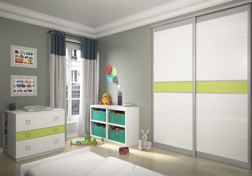 chambre d 39 enfant placard coulissant sogal mod le expression d cors vernis brillant blanc et. Black Bedroom Furniture Sets. Home Design Ideas