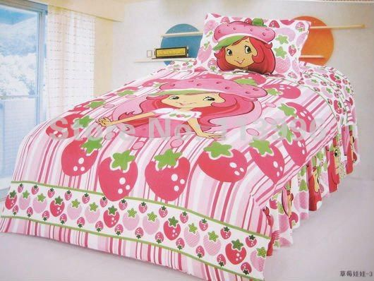 Comforters Shortcake Strawberry Single Bed Girl Cartoon Duvet Cover Set  Printed Children Bedding Set Christmas Gifts