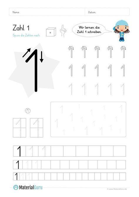 Kostenlose Arbeitsblätter und Übungen zur Zahl 1 für den Mathe ...