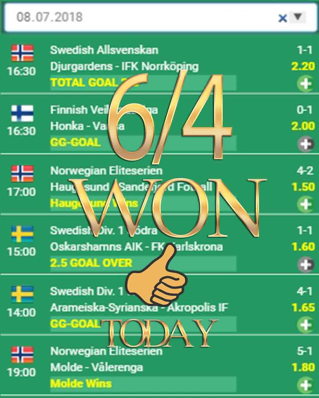 Vip Scout Betting Tips 6/4 WON