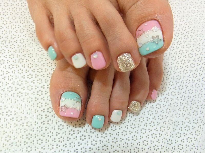 manacured+toe+nails | Colorful pedicure design ideas – Photo ...