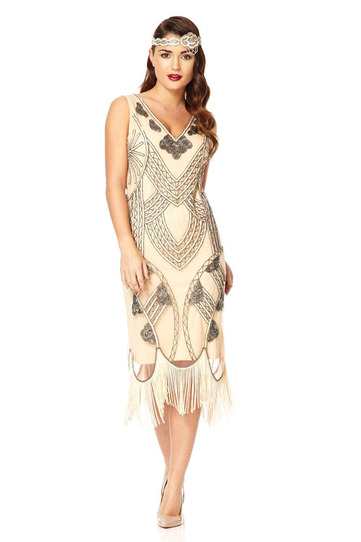 Juliet Nude Blush Dress Vintage 20s Flapper Great Gatsby Charleston ...