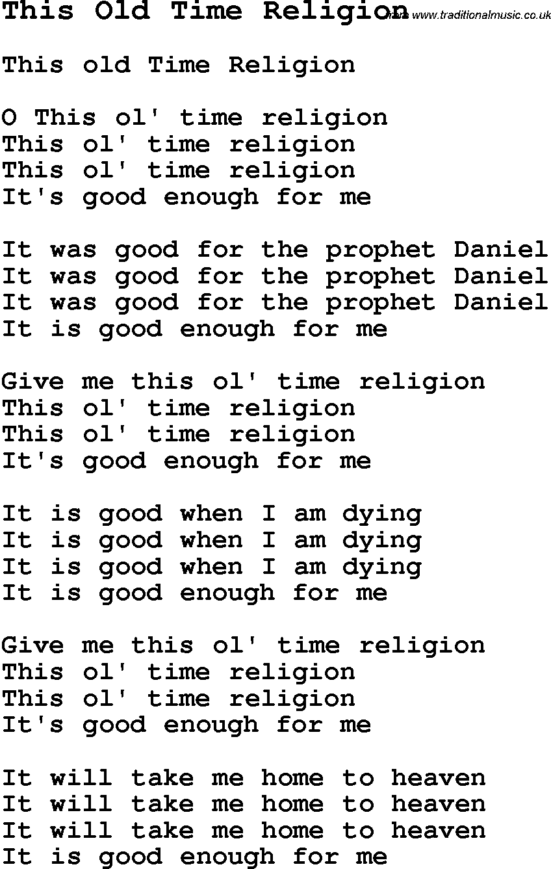 Negro Spiritual Song Lyrics for This Old Time Religion