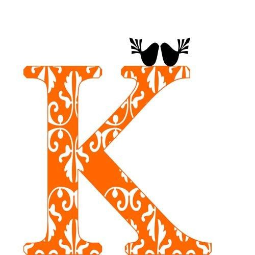 Custom K Alphabet Letter Damask Orange Monogram Decor By Ialbert Etsy