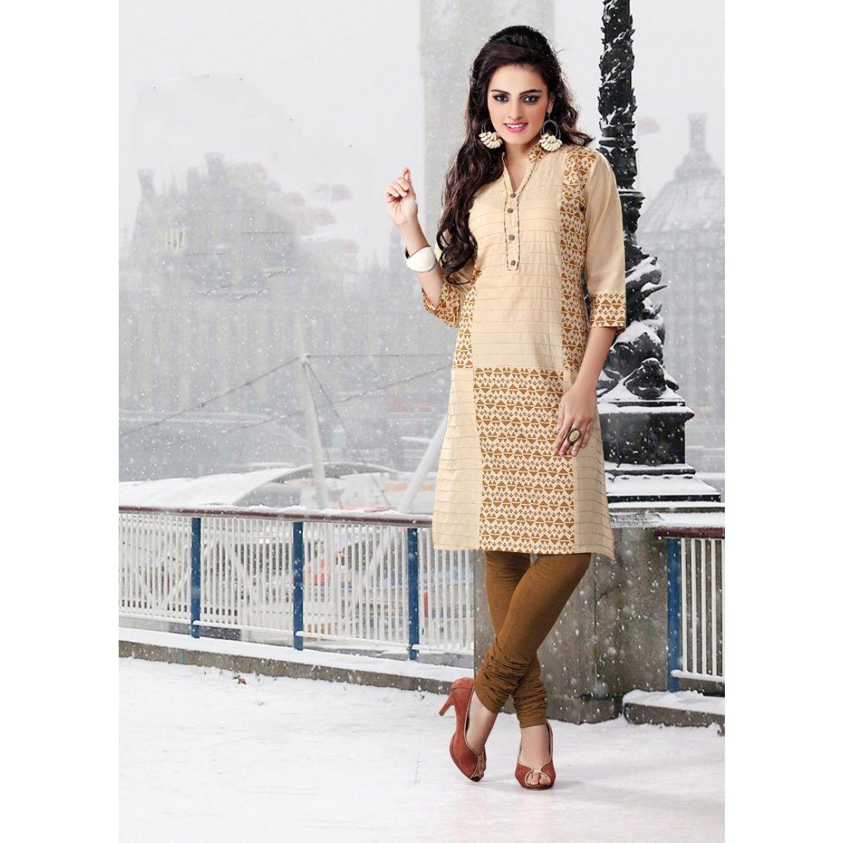 Classy Beige Cotton Designer Kurti