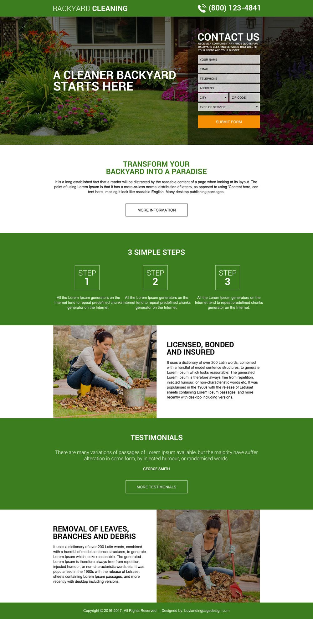 Incroyable Backyard Cleaning Service Lead Gen Landing Page Design