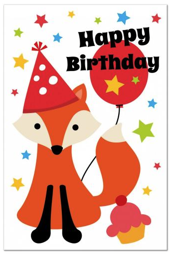 Cute Happy Birthday Postcard Featuring A Little Fox Wearing Party Hat And Holding Balloon Around Are Colorful Stars Cupcake