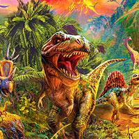 Dino Land - 36 x 44 PANEL - DIGITAL PRINT #historyofdinosaurs eQuilter Dinosaurs, Fossils & Natural History #historyofdinosaurs
