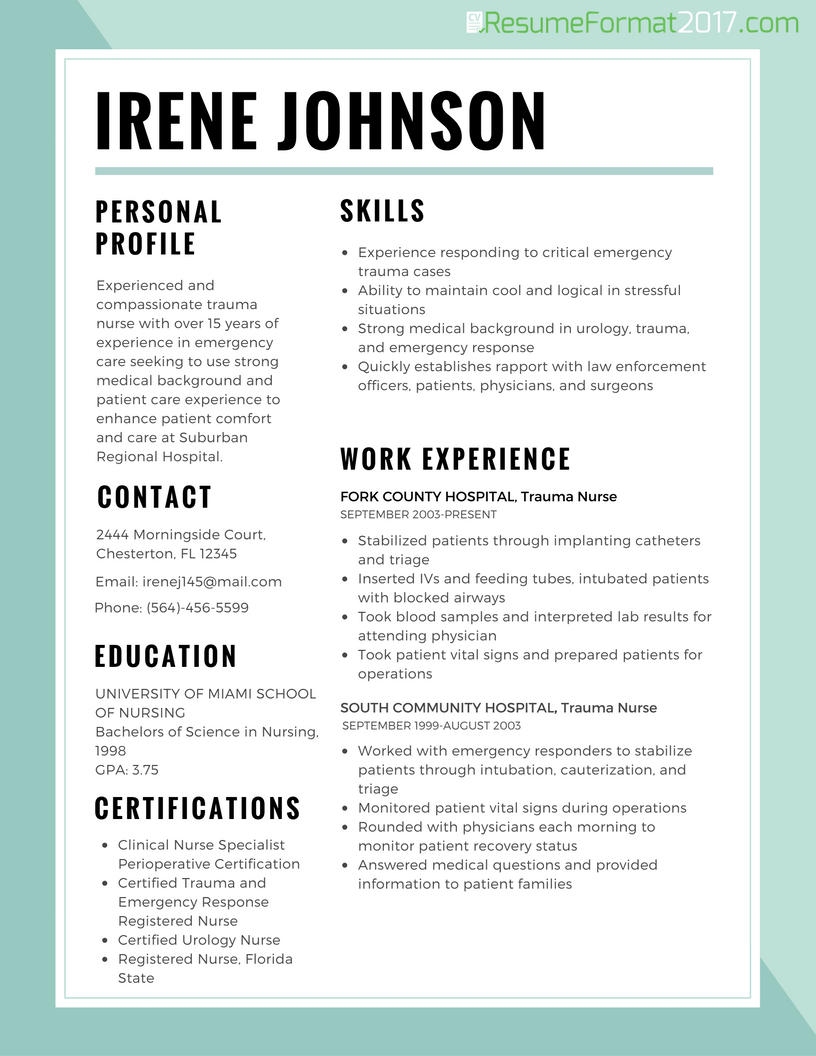 Resume Formats 2017 Resume Format Best resume format