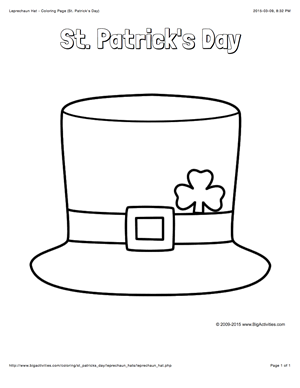 St patrick 39 s day coloring page with a picture of a for Leprechaun hat coloring page