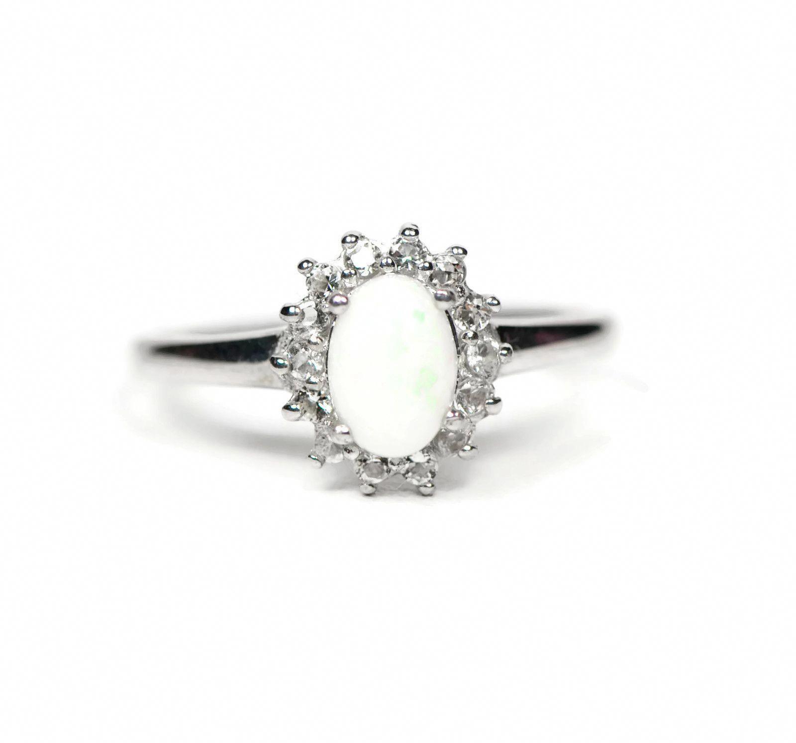 Sterling Silver White Topaz And Genuine Australian Opal Ring Engagementringsovaldainty Australian Opal Ring Opal Jewelry Opal Rings