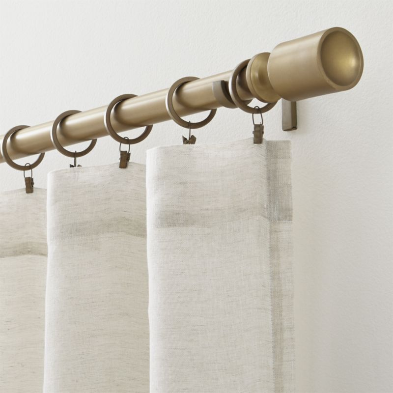 Barnes Antiqued Brass 1 25 Dia X 120 170 Curtain Rod Set Crate And Barrel Brass Curtain Rods Drapery Rods