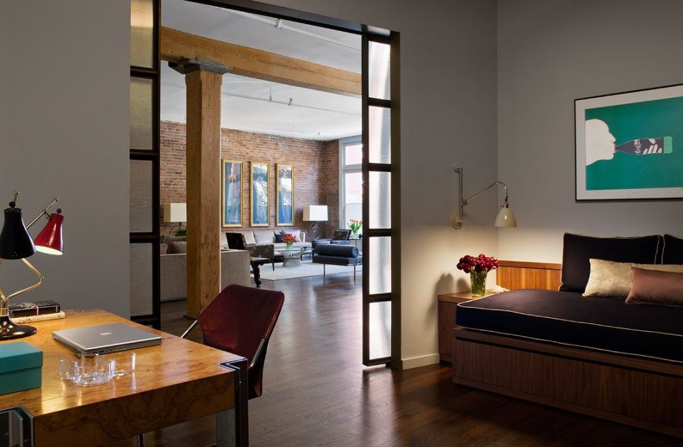 Superior Brick Wall Studio Apartment By Stephan JAKLITSCH : GARDNER U2013 Hardwood Floor  Bedroom With Walnut Desk