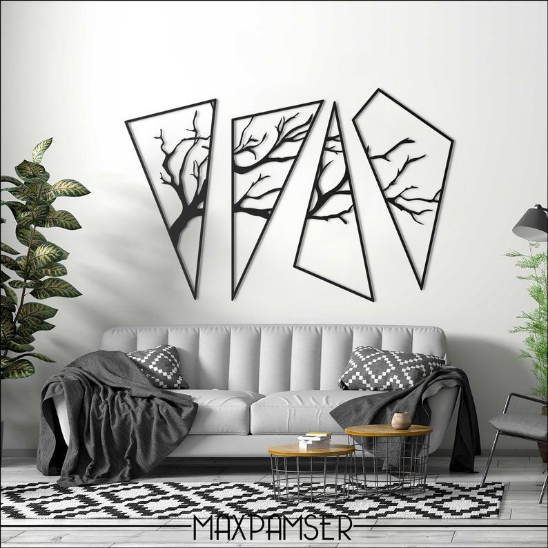 4 Piece Cactus Tree Metal Wall Hanging Art Sculpture Garden Decor Home Abstract