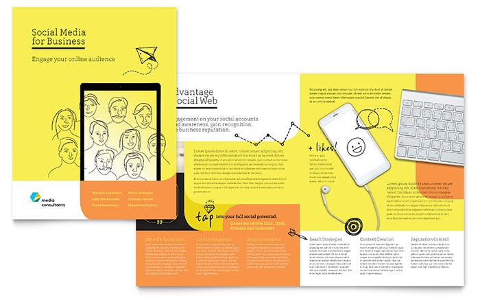 social media consultant brochure template design by stocklayouts