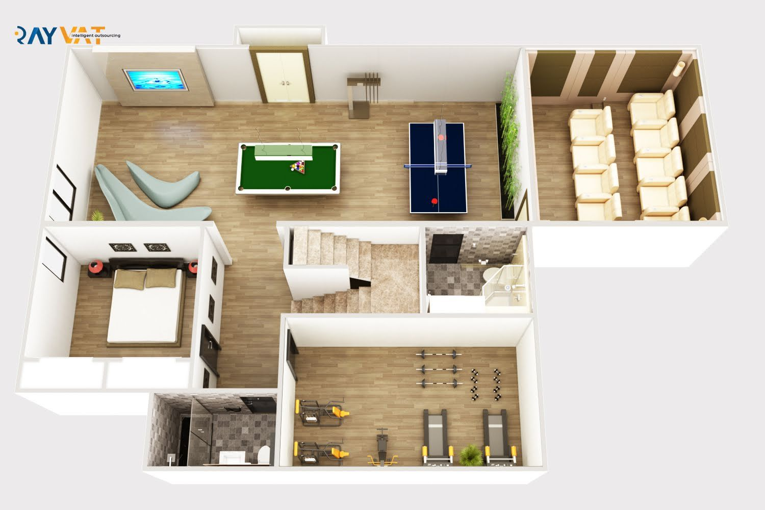 3d Basement Plan With Activity Area Gym And Home Theatre Architectural Floor Plans Rendered Floor Plan Floor Plans
