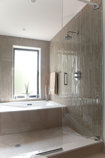Bathroom Shower Tub Combination Contemporary Vertical Mosaic