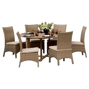 Oxford Garden Torbay 13 Piece Dining Set   Natural Shorea And Antique Resin  Wicker