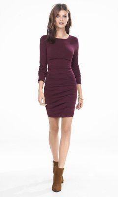 2e819d38841 Express - burgundy ruched sweater dress