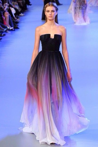 dress designer prom dress black ombre model ball prom fashion print dress elie saab formal dress purple dress