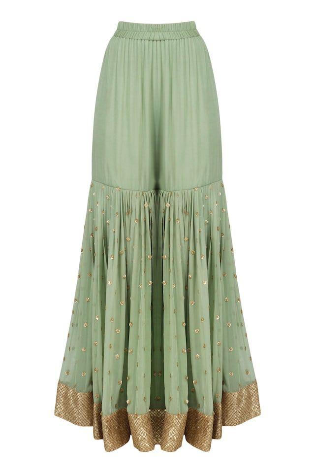 Fern Green Embroidered Sharara set available only at Pernia's Pop Up Shop. #shararadesigns