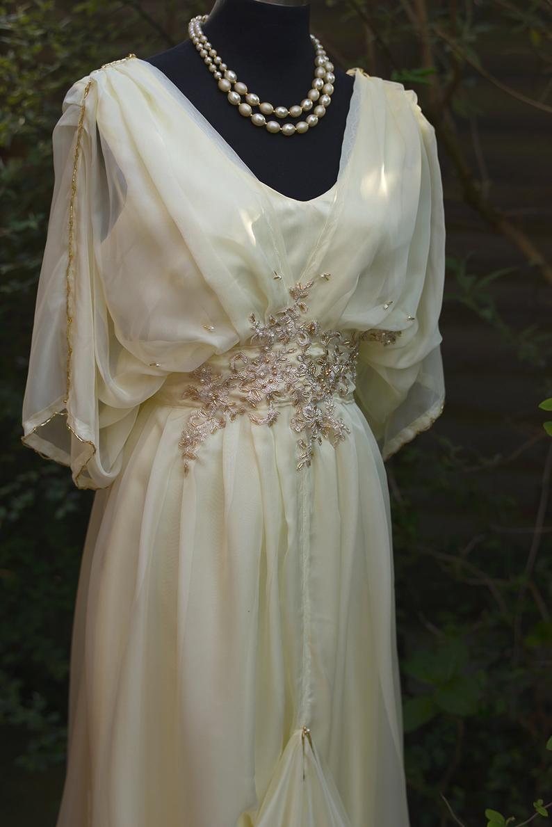 Cream edwardian wedding dress downton abbey steampunk