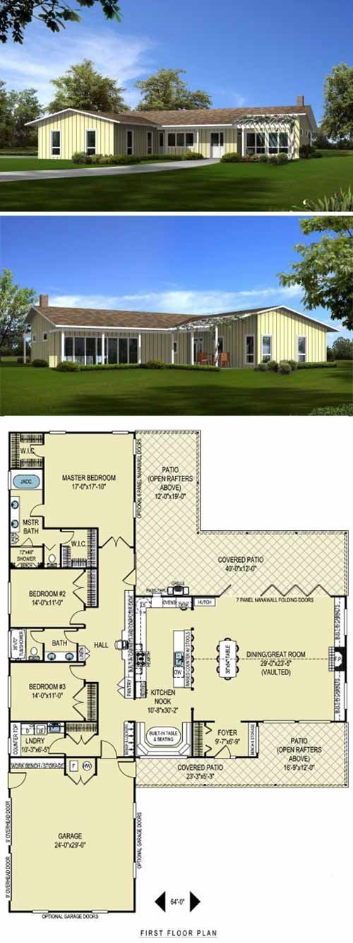 8 Cliff May Inspired Ranch House Plans From Houseplans Com L Shaped House Plans Ranch House Plans L Shaped House