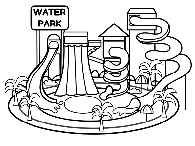 Theme Park Water Park And Playgrounds Rainbow Playhouse Coloring Pages Theme Park Water Park