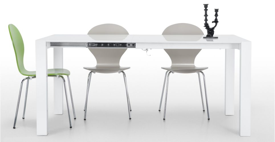 Bramante Square Extending Dining Table in white | made.com