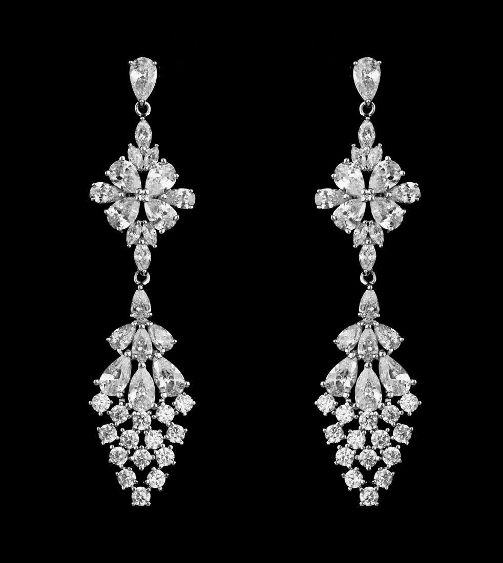Glamorous Sterling Silver Multi Cut Cubic Zirconia Wedding Earrings