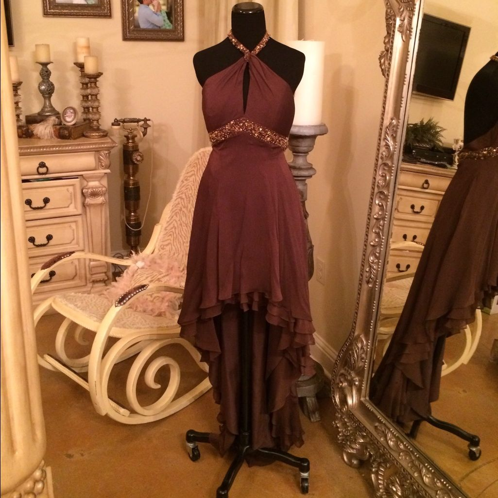 Brown halter neck gown halter neck and products