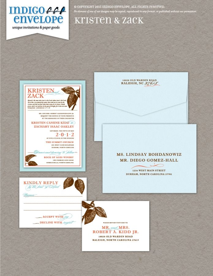 Incorporating scripture into your invitation is a nice touch if your faith is an important part of your relationship. #botanicalwedding #indigoenvelope