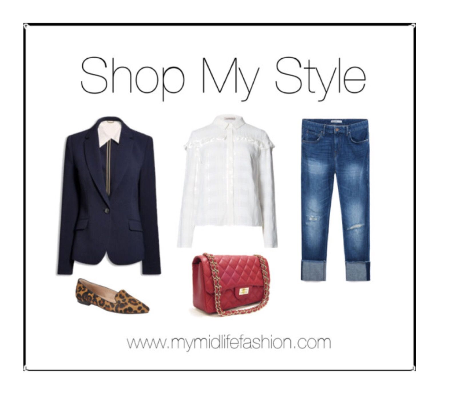 Tailored classics with a navy blazer, ruffle blouse, distressed denim & leopard print flats.