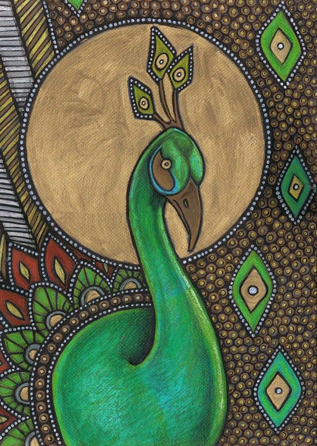 Colorful Art Nouveau Peacock Bird Animal Icon By Lynnetteshelley