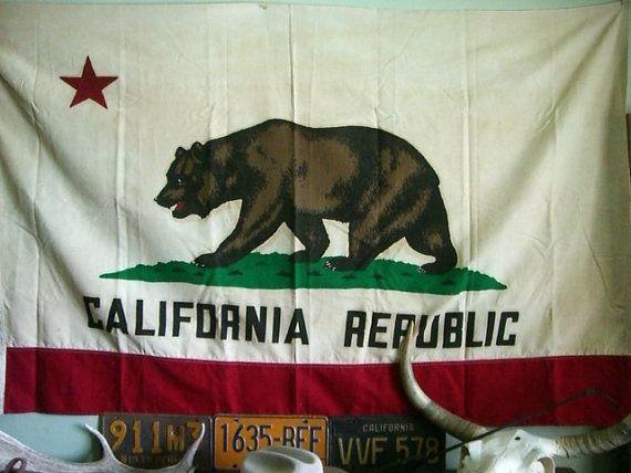 Vintage California Republic Flag State Bear Original