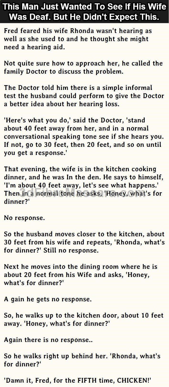 This Man Just Wanted To See If His Wife Was Deaf But He Didnt Expect ...
