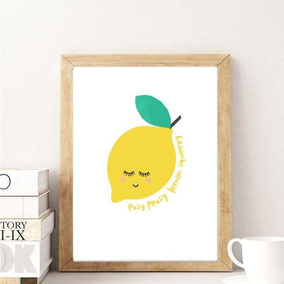 Lemon Art Print, easy peasy yellow modern Nursery Printable Wall art ...