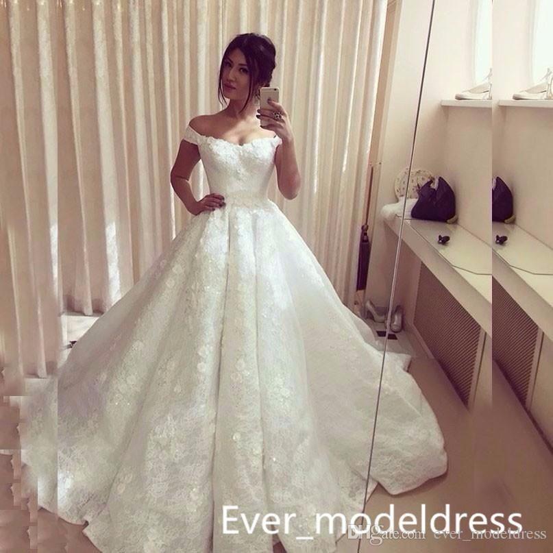 Discount Gorgeous Vintage Lace Muslim White Wedding Dresses A Line