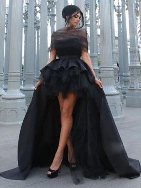 Off-The-Shoulder Ruffles High Low Evening Dress