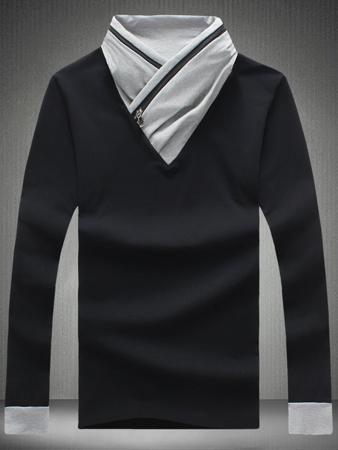 Color Block Zipper Design Shawl Collar T-Shirt