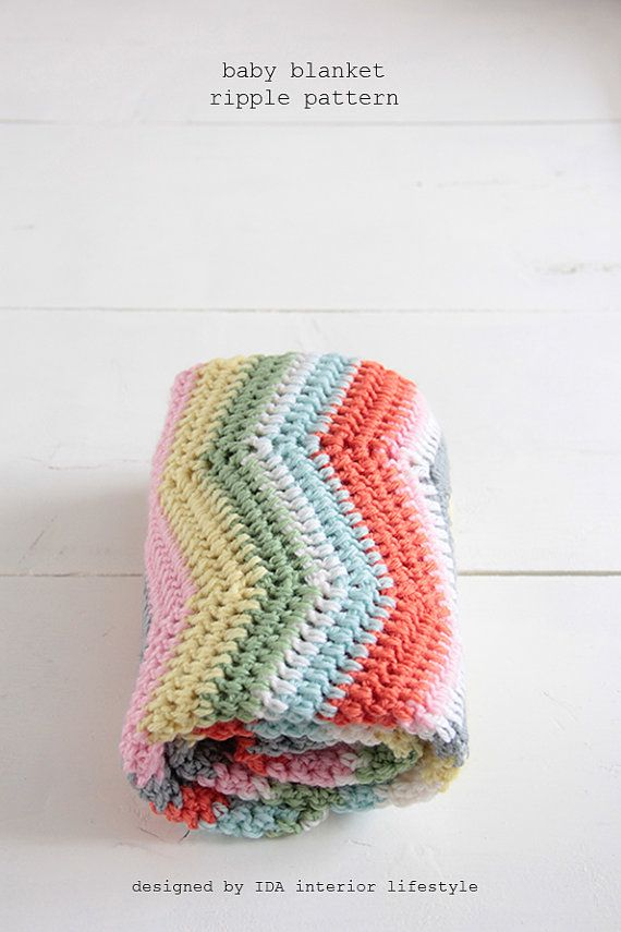 Great Color Scheme Paid Pattern Crochet Baby Blanket Ripple