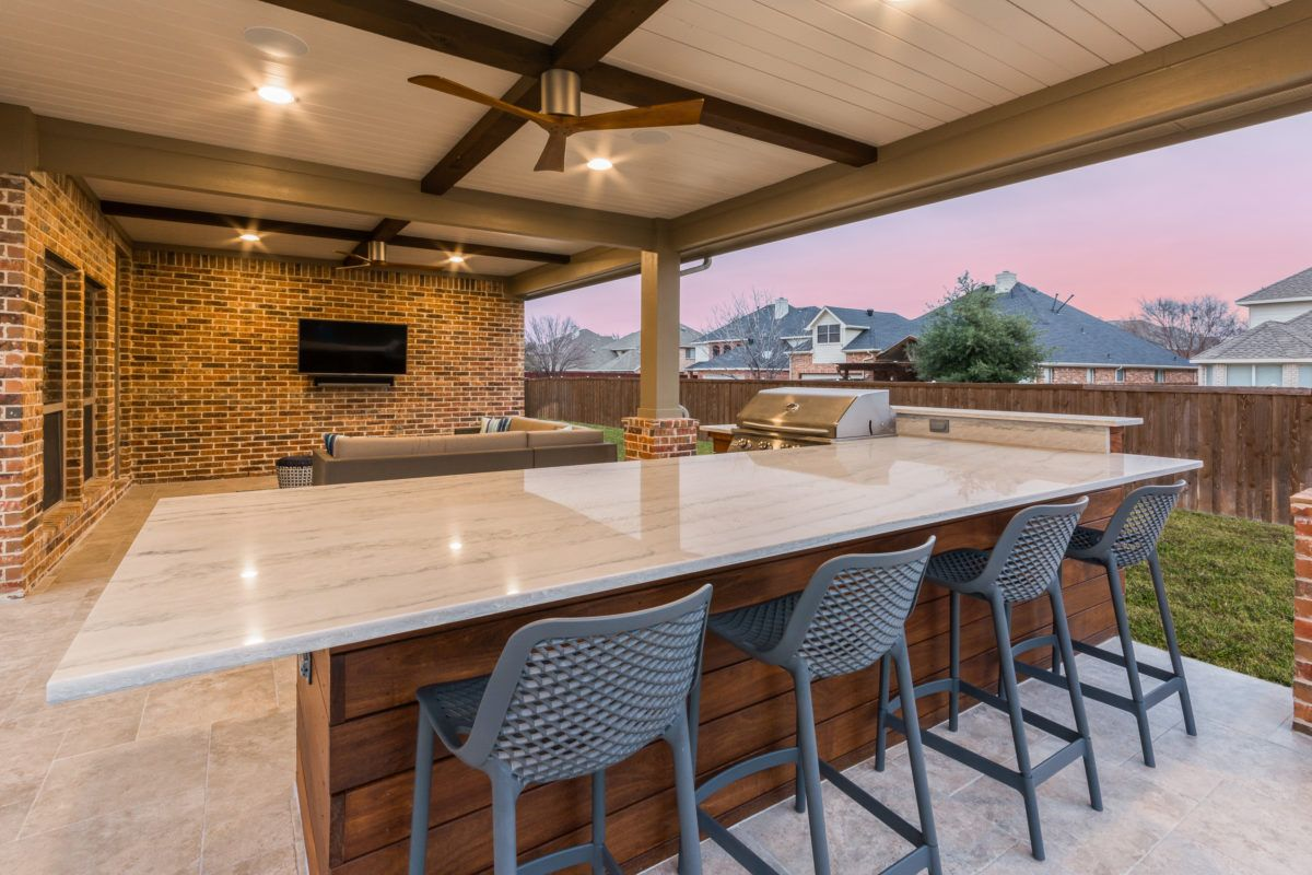 Patio Cover And Outdoor Kitchen In Coppell Small Outdoor Kitchens Outdoor Kitchen Covered Patio