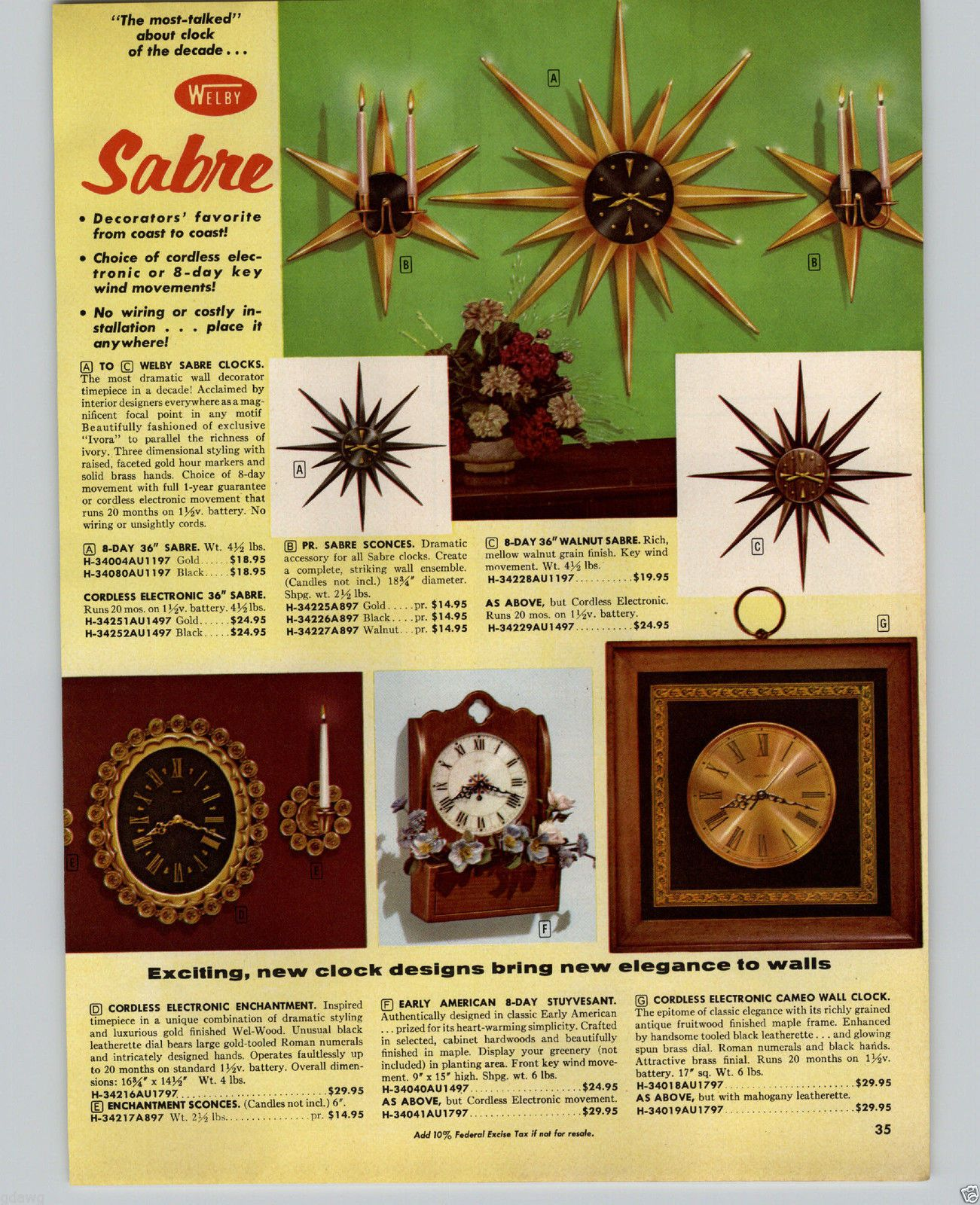 1964 PAPER AD 2 PG Mid Century Modern Welby Metal Art Starburst Wall ...