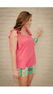 "'Bow'tacular by Judith March    Bring out your inner Southern Belle in this adorbable hot pink top with bow shoulder detail.  Bows have yellow piping for added detail!  Looks great paired with our Judith March ""Sunrise Festival"" Shorts!"