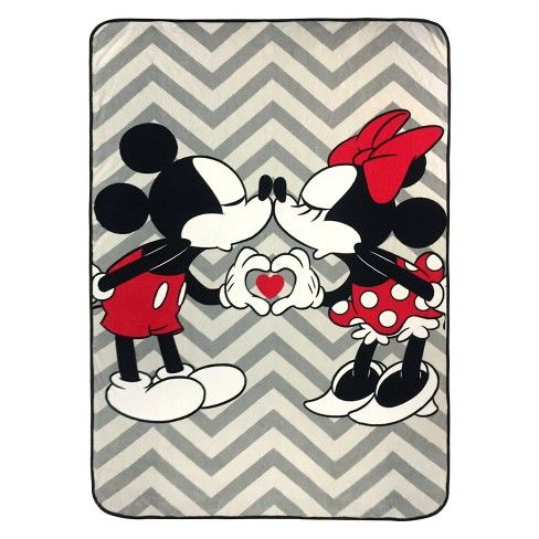 Disney Mickey Mouse & Minnie Mouse Twin Bed Blanket Gray ...
