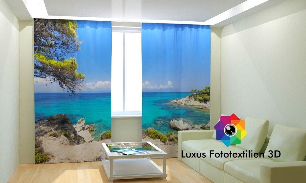 Details zu Fotogardinen 3D  - gardinen vorhänge wohnzimmer