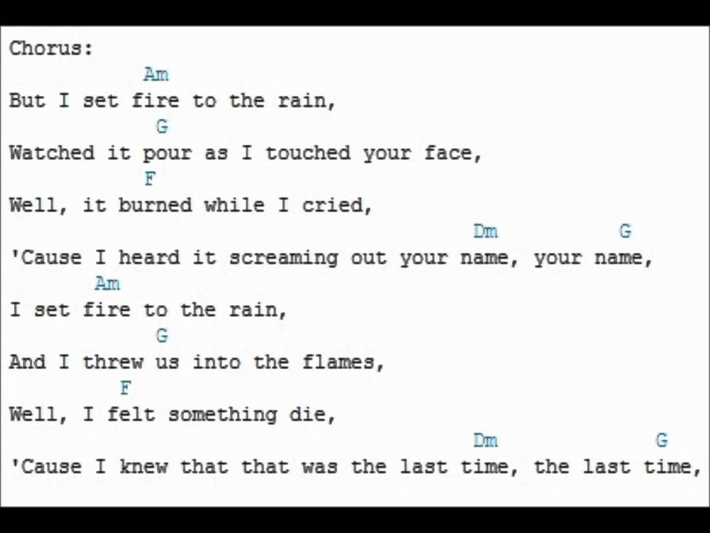 Adele Set Fire To The Rain Lyrics And Guitar Chords Chordvid