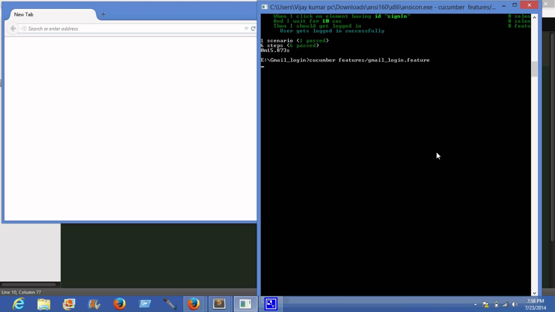 Gmail login page automation using selenium-cucumber | tech